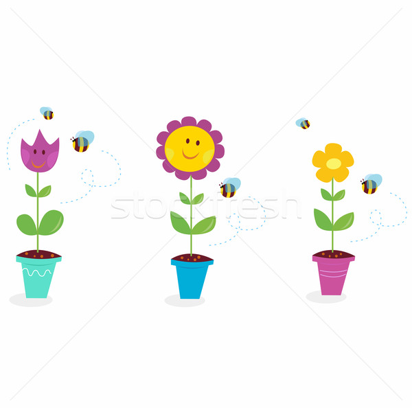 Spring Garden Flowers - Tulip, Sunflower And Daisy  Stock photo © lordalea