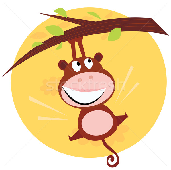 Brown Cute Monkey Hanging From Tree  Stock photo © lordalea