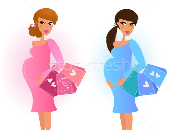 Pregnant women awaiting baby boy and baby girl Stock photo © lordalea