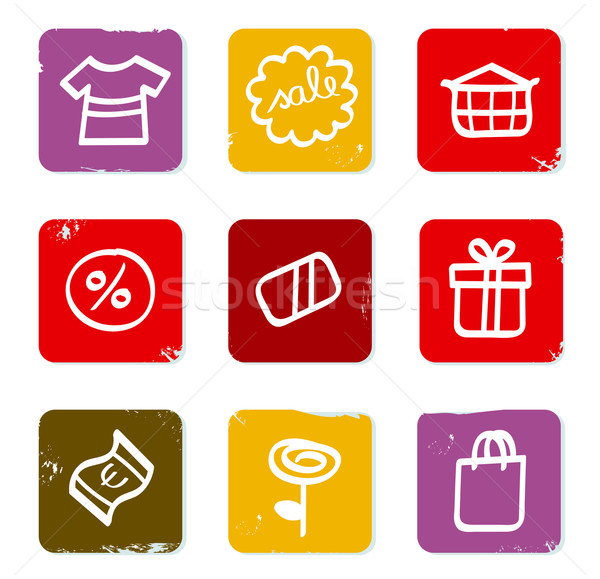 Shopping, commercial and sale doodle retro icons isolated on whi Stock photo © lordalea