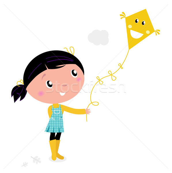 Little cute girl Flying Kite isolated on white Stock photo © lordalea