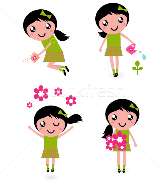 Cute little girl with spring Flowers isolated on white Stock photo © lordalea