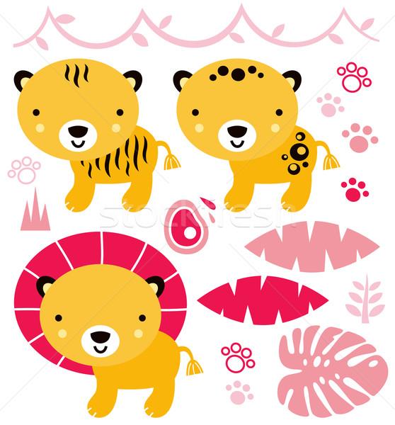 Stockfoto: Cute · safari · dieren · ingesteld · geïsoleerd · witte · safari