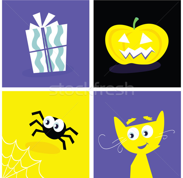 Halloween retro iconen vector symbolen Stockfoto © lordalea