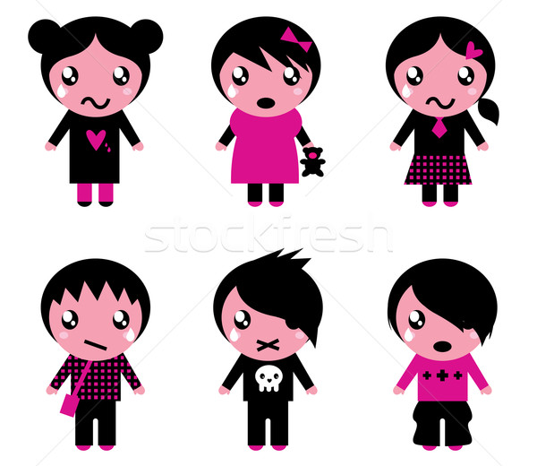 Emo kids cute collection isolated on white Stock photo © lordalea