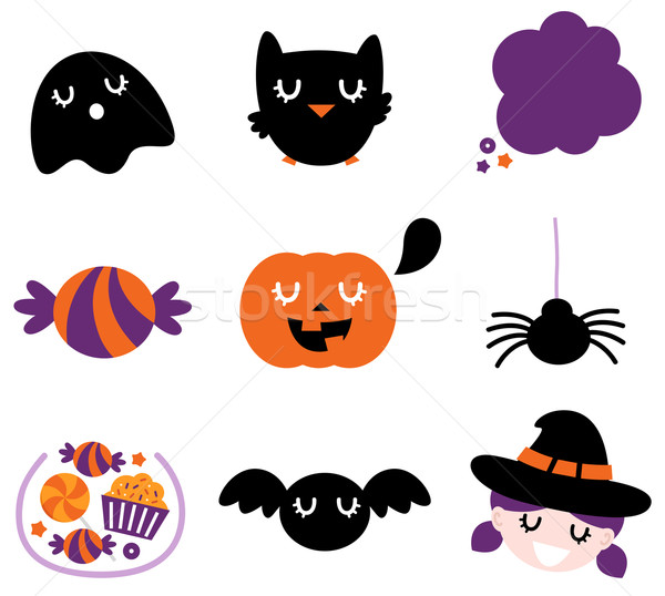 Halloween icon set isolated on white Stock photo © lordalea