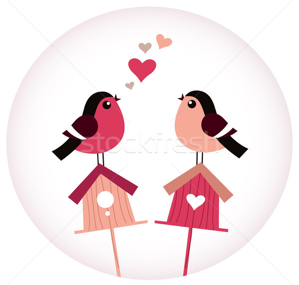 Cute Birds in love sitting on Birdhouses - retro vector Stock photo © lordalea