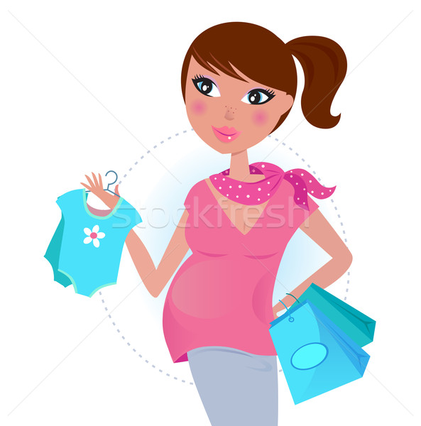 Pregnant mom on shopping for baby boy  Stock photo © lordalea