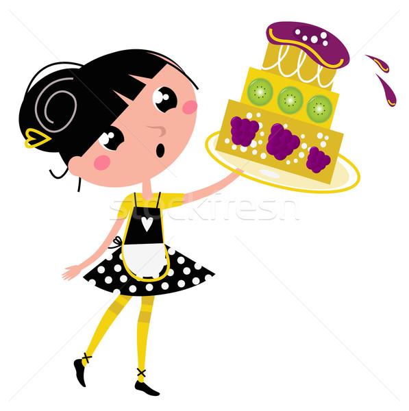 Retro keuken meisje groot fruit cake Stockfoto © lordalea