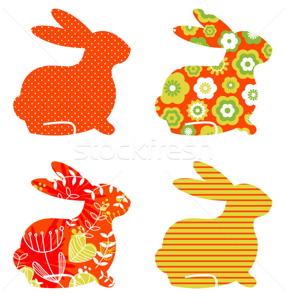 Abstract floral bunnies set isolated on white Stock photo © lordalea