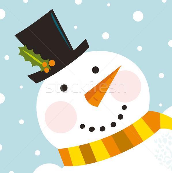Cute felice pupazzo di neve faccia Natale Foto d'archivio © lordalea