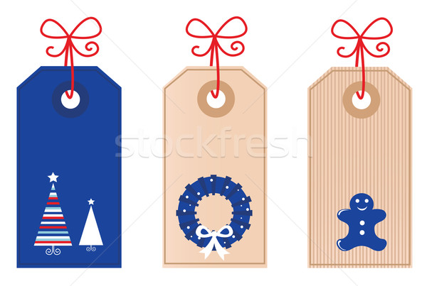 Christmas retro blank Tags isolated on white Stock photo © lordalea