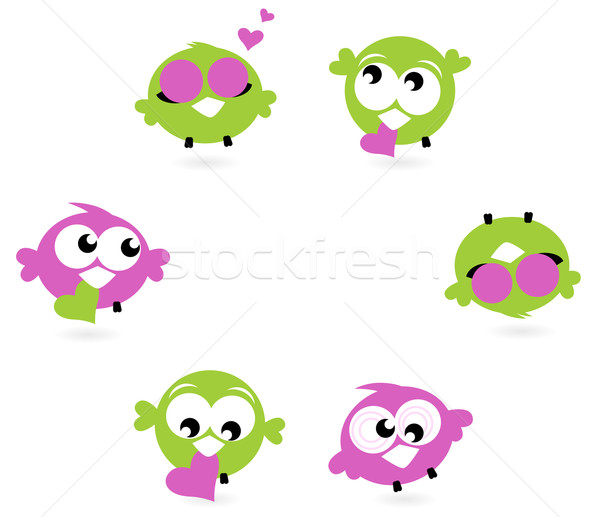 Beautiful love twitter birds set isolated on white Stock photo © lordalea