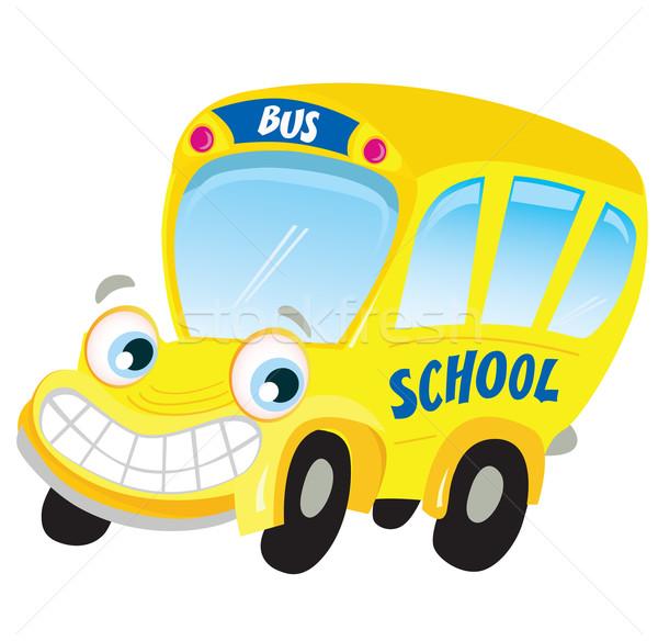 Yalıtılmış sarı okul otobüsü komik beyaz çocuklar Stok fotoğraf © lordalea