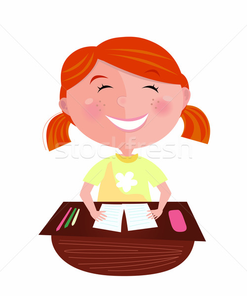 Back To School: Happy Red Hair Girl In Classroom  Stock photo © lordalea