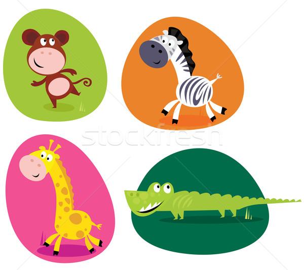 Cute safari dieren ingesteld aap zebra giraffe Stockfoto © lordalea