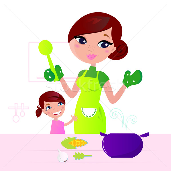 Stock photo: Mother cooking healthy food with child in kitchen