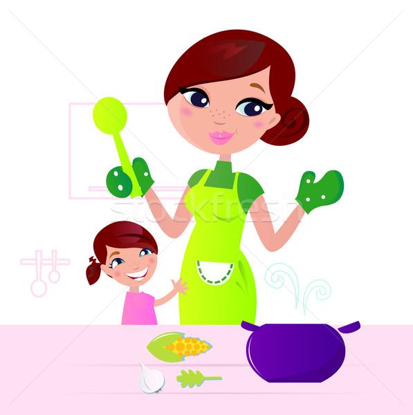 Stok fotoğraf stok vektör ilüstrasyonu mom and child cooking