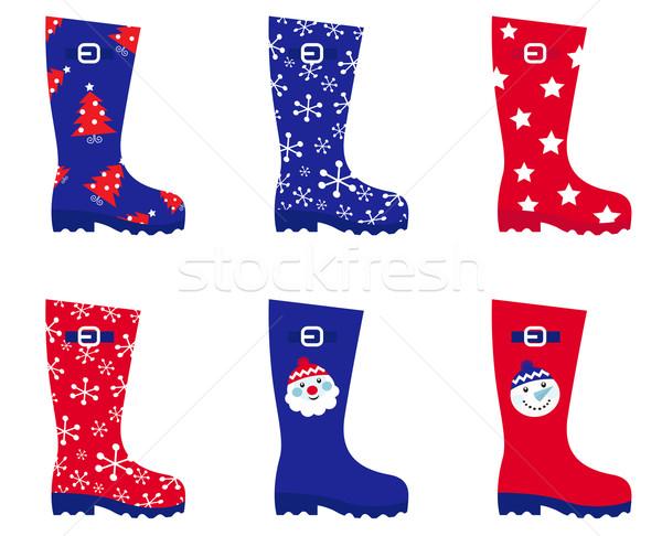 Foto stock: Retro · Navidad · Wellington · botas · establecer · aislado