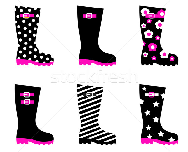Retro patterned wellington rain boots isolated on white ( black, Stock photo © lordalea