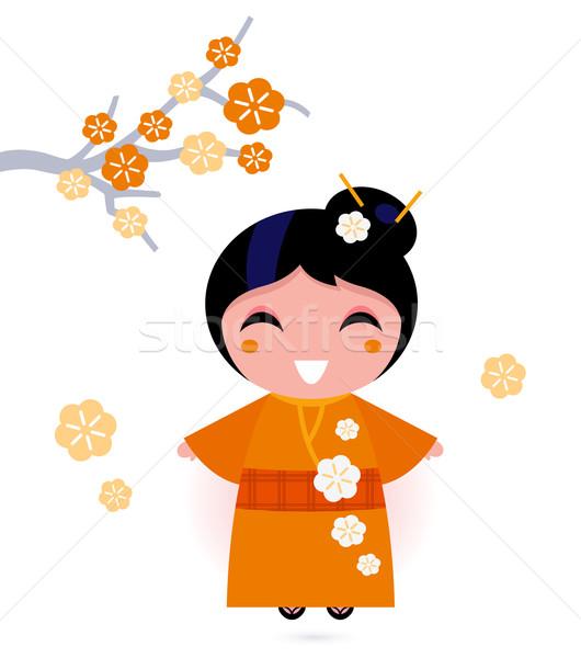 Stock fotó: Gésa · nő · narancs · kimonó · izolált · fehér