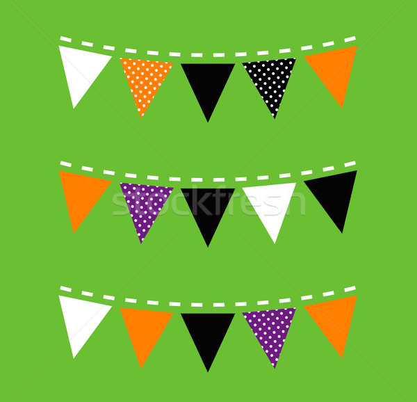 Stock photo: Colorful Halloween Bunting isolated on green background