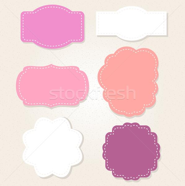 Aranyos klasszikus címkék szett pasztell színek Stock fotó © lordalea