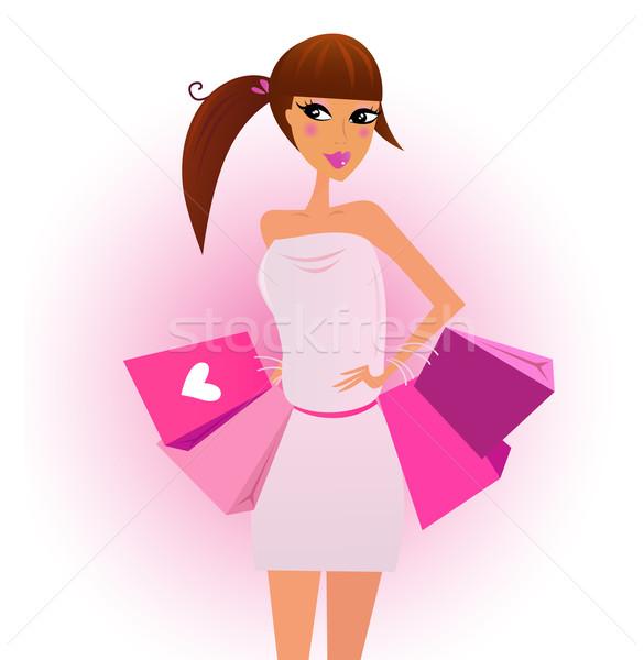 Klant winkelen meisje roze geïsoleerd Stockfoto © lordalea