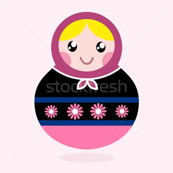 Traditional Russia doll, Matrioshka - pink and black Stock photo © lordalea