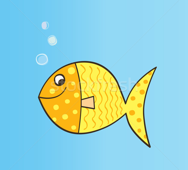 Gold Cartoon Fish  Stock photo © lordalea