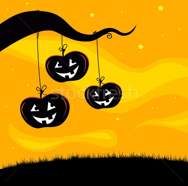 Halloween fa sütőtök akasztás faág ijesztő Stock fotó © lordalea