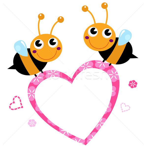 Stockfoto: Cute · vliegen · bijen · roze · liefde · hart