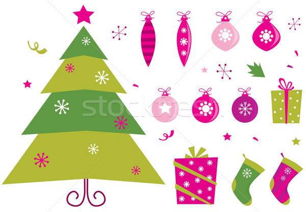 Сток-фото: розовый · зеленый · ретро · Рождества · иконки · Элементы