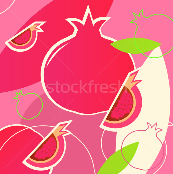 Wild fresh Pomegranate fruit summer background - pink, white, gr Stock photo © lordalea