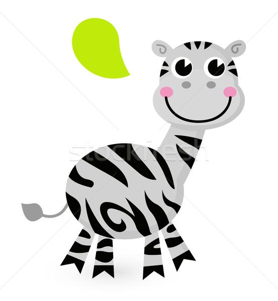 Stock fotó: Aranyos · rajz · zebra · izolált · fehér · boldog