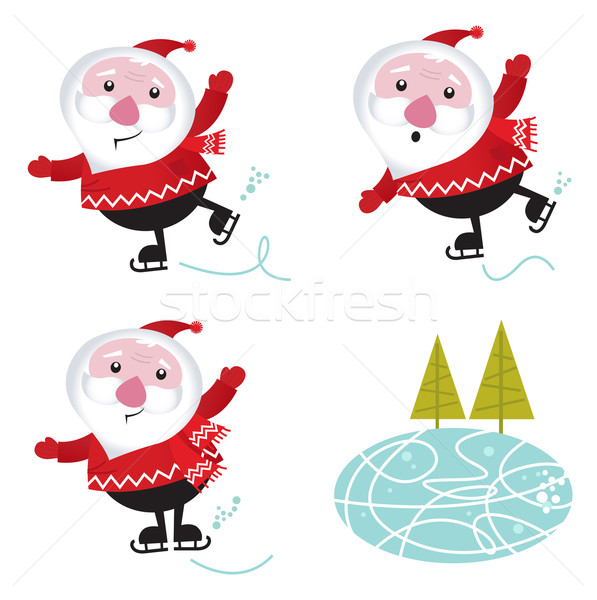 Winter & christmas: Santa Claus ice skating isolated on white