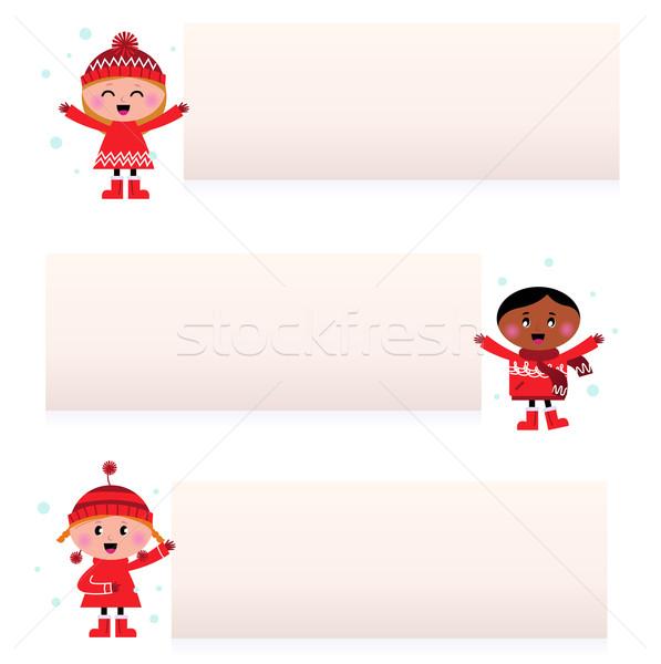 Bonitinho multicultural crianças banners isolado branco Foto stock © lordalea