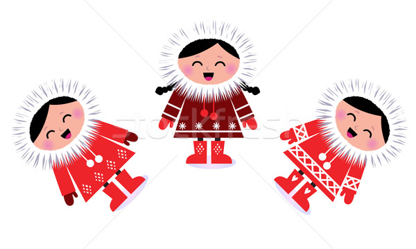 Cute eskimo children group isolated on white Stock photo © lordalea