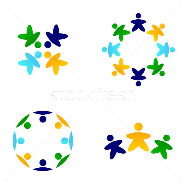 Multicultural colorful teams connecting together icons Stock photo © lordalea