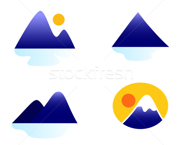 Mountains or hills icons collection isolated on white Stock photo © lordalea