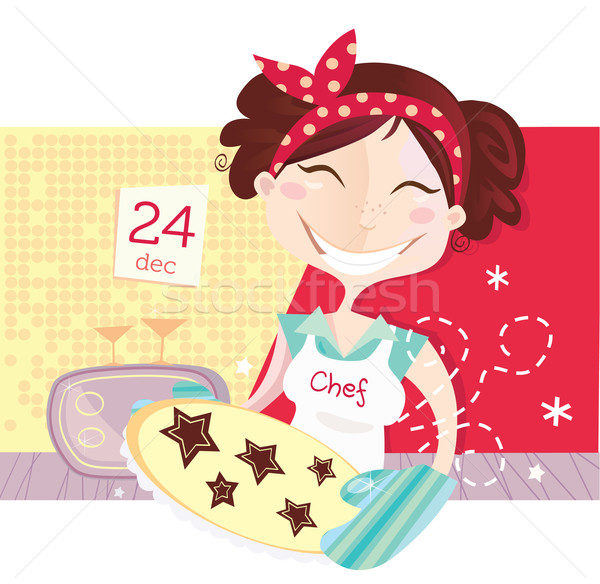 Vrouw christmas cookies lifestyle Stockfoto © lordalea