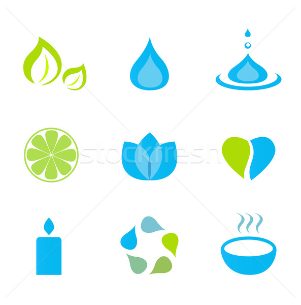 Stock photo: Water, nature and wellness icons - green and blue