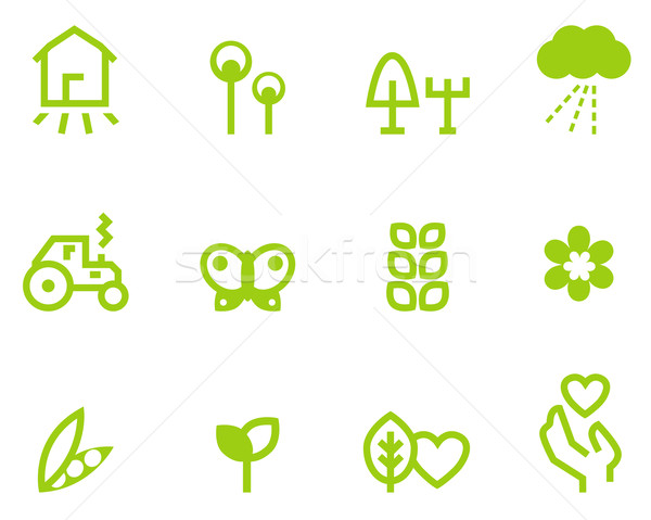 Agriculture & farming icons set isolated on white ( green ) Stock photo © lordalea