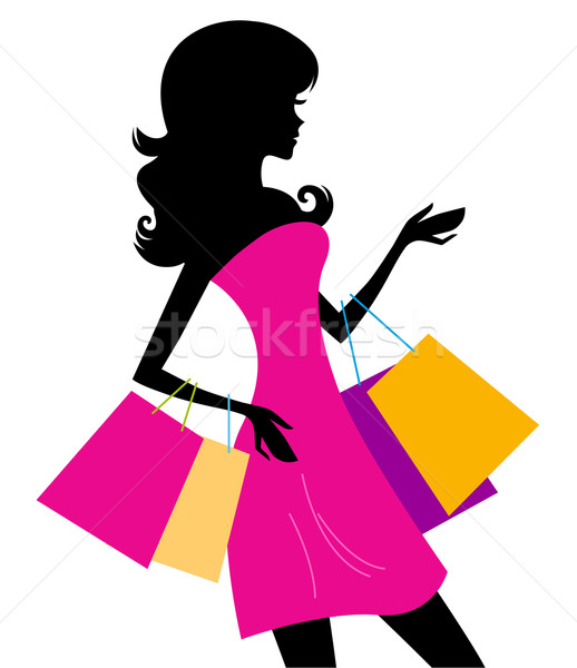 Femme Shopping silhouette isolé blanche fille Photo stock © lordalea