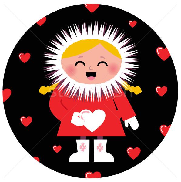 Cute Eskimo girl holding heart design Stock photo © lordalea
