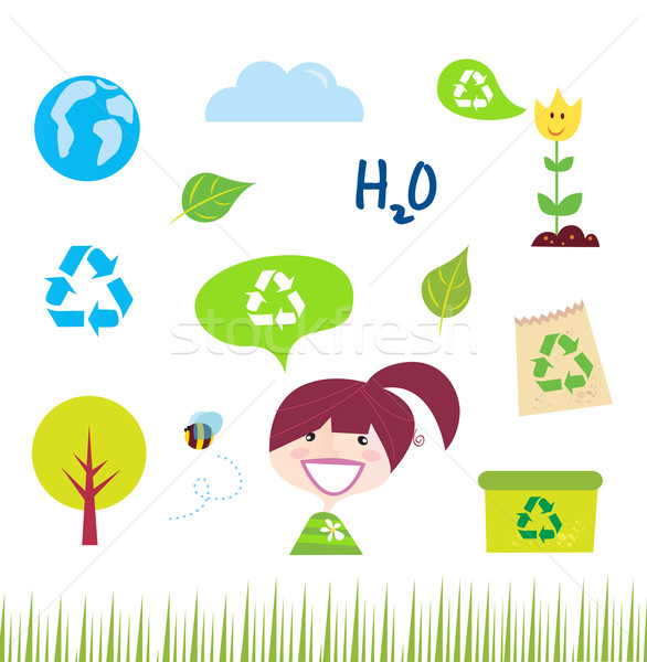 Recycle, Nature And Ecology Icons On White  Stock photo © lordalea
