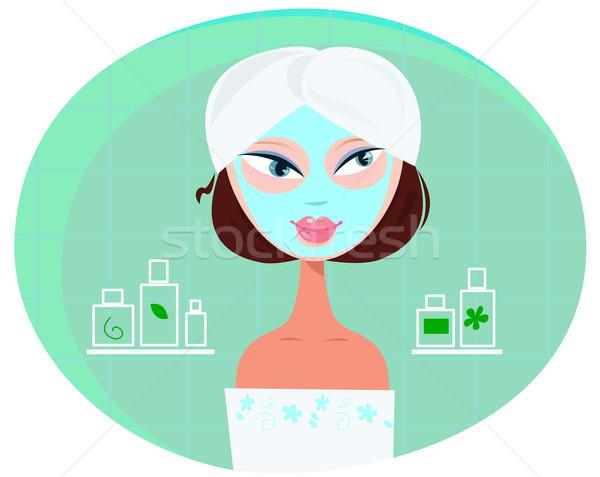 Beautiful Girl Woman With Facial Mask In Bathroom  Stock photo © lordalea