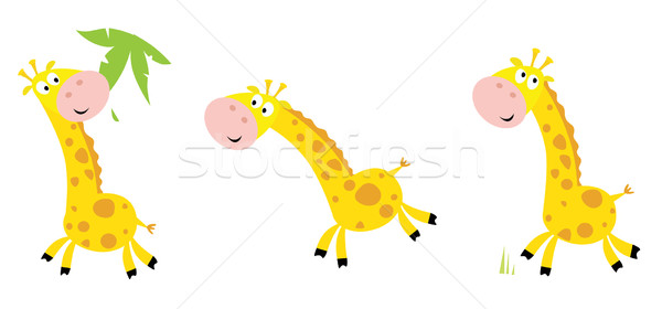 Jaune girafe vecteur cartoon manger courir Photo stock © lordalea