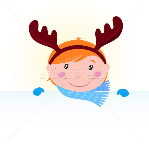 Stock photo: Cute Christmas kid in reindeer costume with blank banner /sign