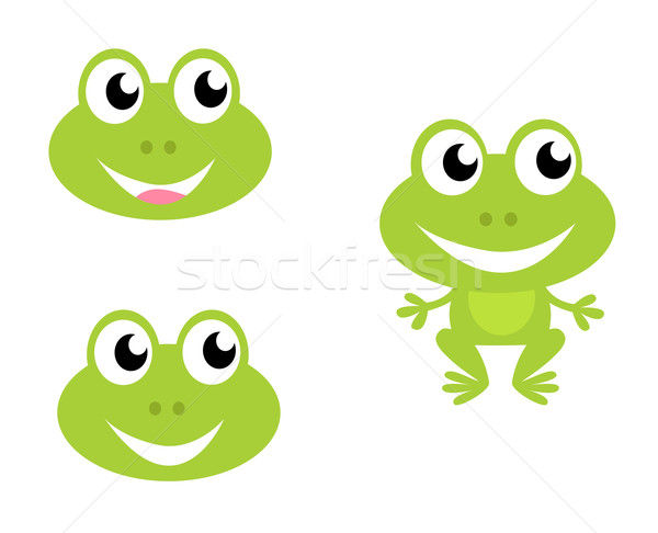 Cute groene cartoon kikker iconen geïsoleerd Stockfoto © lordalea
